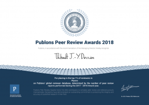 Publons Award Top1% Derrien 2018