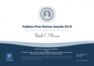 Publons Award Top1% Derrien 2018