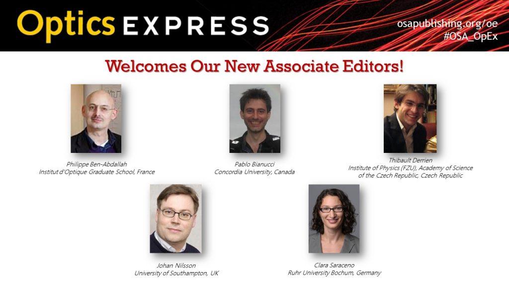 New associate editors of Optical Society of America