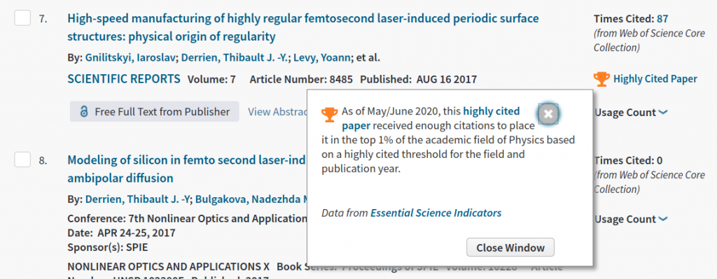 Highly Cited paper